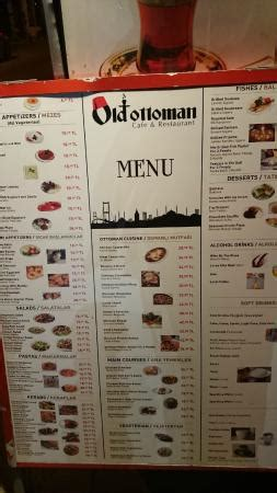 Ottoman Menu by Large Menu Prices Picture Of Ottoman Cafe