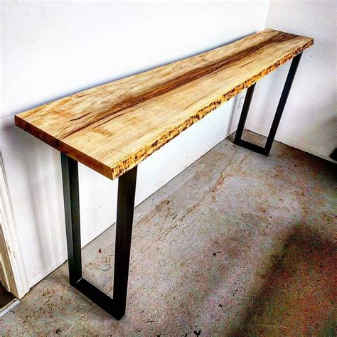 curly maple  edge console table  raw steel legs