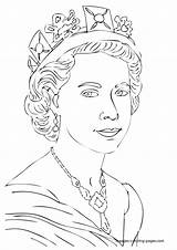 Queen Coloring Elizabeth Royal Pages British Drawing Colouring Coloringpagesfortoddlers Notable Ii England Printable Princess Drawings Characters Birthday Disimpan Dari sketch template