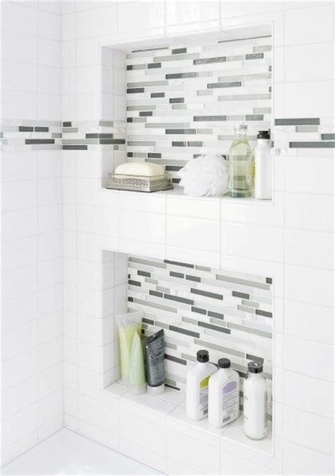 niche for shower wall white shower chrome fixtures bathroom pinterest white shower and showers