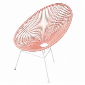 La Maison Du Blanc : fauteuil en fil de r sine rose poudr et m tal blanc ~ Zukunftsfamilie.com Idées de Décoration