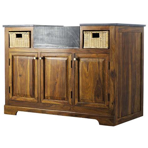 meuble bas de cuisine en bois de sheesham massif   cm luberon maisons du monde
