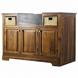 meuble bas de cuisine en bois de sheesham massif l 120 cm With meuble cuisine en bois massif