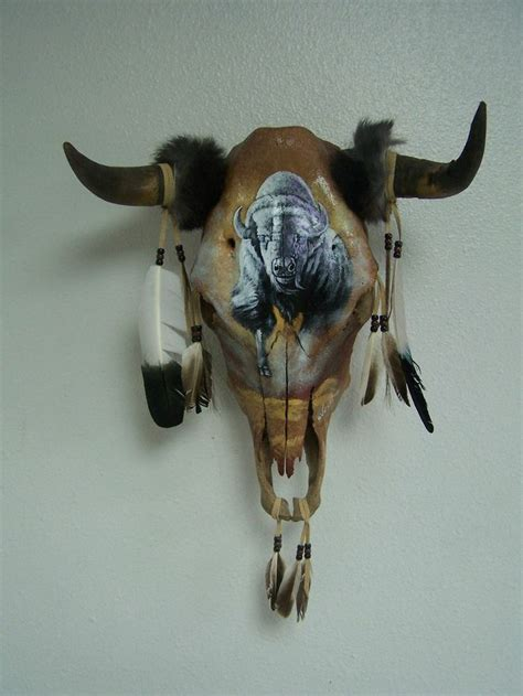 hand painted white buffalo on real cow skull man cave