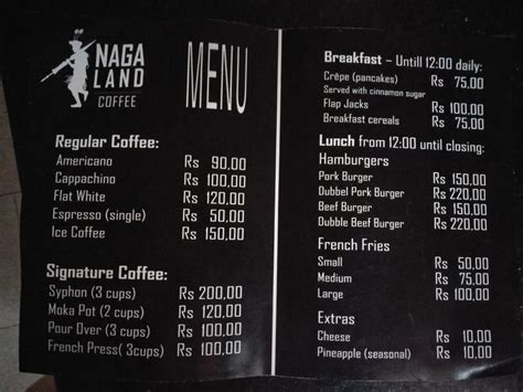 Menu had a good offering of salads, soups. Founders of 'Nagaland Coffee' Share Updates on Their Coffee Shop Launch in Dimapur - Roots & Leisure