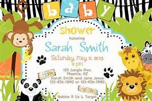Baby Shower Invitations: Cartoon Safari Jungle Theme Baby