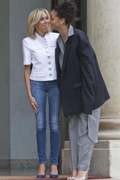 rihanna meets french president emmanuel macron