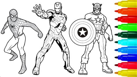 spiderman wolverine iron man coloring book colouring