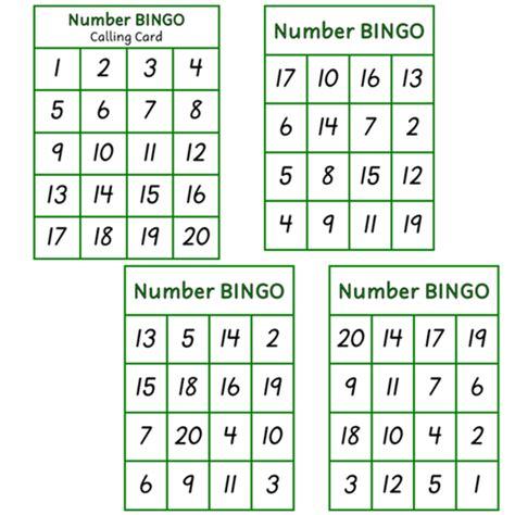 bingo numbers 1 20 smart kids nz