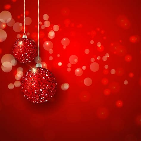 bolas brilhantes natal em um fundo vermelho  bokeh