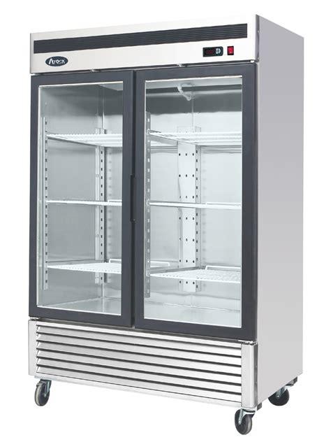 refrigerator with glass door atosa mcf8707 bottom mount two section glass door