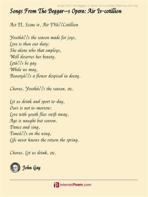 The first and last are identical; Songs From The Beggar-s Opera: Air Iv-cotillion Poem by John Gay