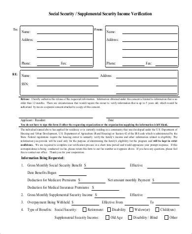 social security employment verification form 9 sle income verification forms sle templates