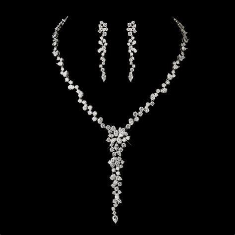 cz bridal necklace  earrings set olena wedding cz jewelry