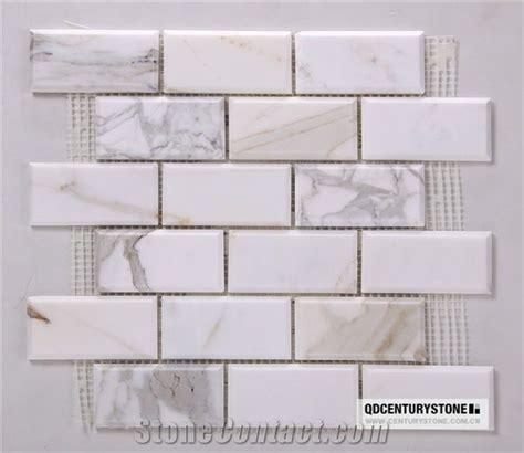 2x4 Inches Calacatta Gold Marble Beveled Brick Subway Tile