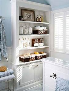 15 exquisite bathrooms that make use of open storage for Built in bathroom storage vanities