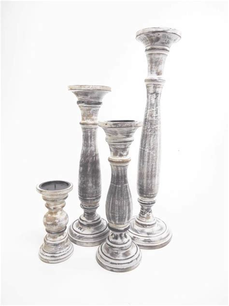 white wooden candle holders antique effect white brown wooden carved pillar