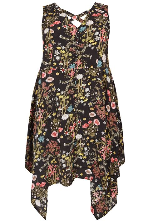 floral cross forms black multi floral print sleeveless top with cross over