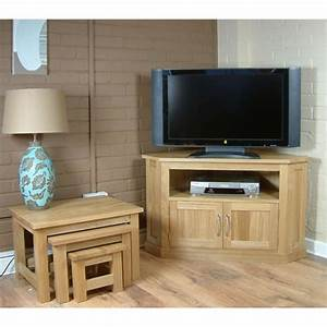 Mobel Oak Widescreen Corner Lcd Plasma Tv Stand Cabinet