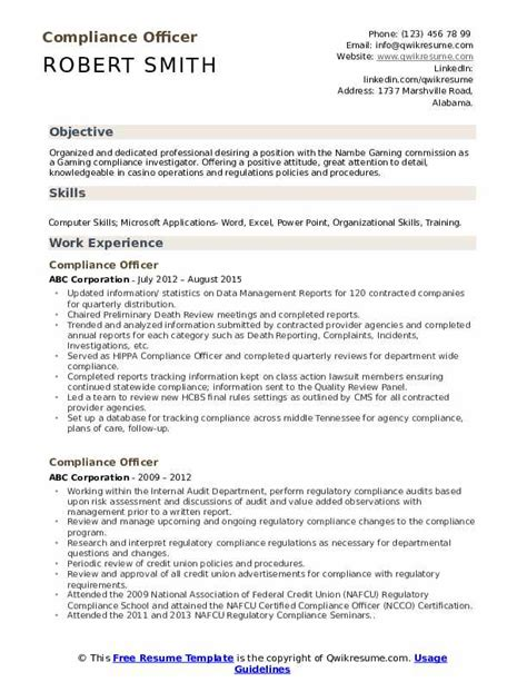 Compliance Officer Resume by Compliance Officer Resume Sles Qwikresume
