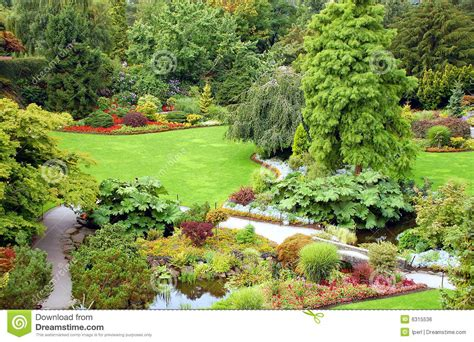 Garden View Stock Photo. Image Of Botanical, Grass, Floral
