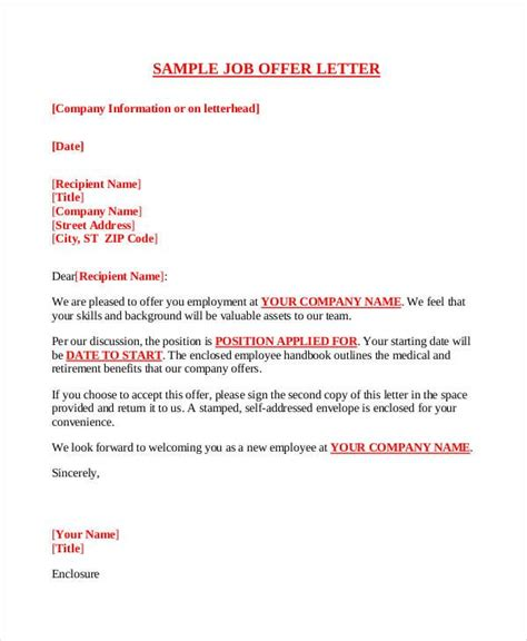 company offer letter template  word  format