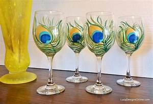 DIY Hand Painted Wine Glasses with Peacock Feather Design