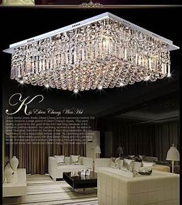Moderne carre argent cristal lustre chambre lustre salon for Lustres salon salle a manger