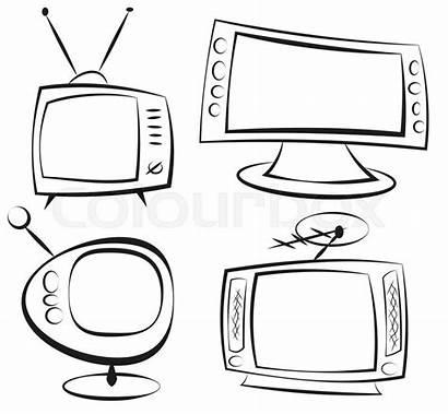 Television Retro Televisie Doodle Cartoon Televisione Clip