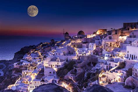 Santorini Greece Wallpaper At Night Hd Wallpaper