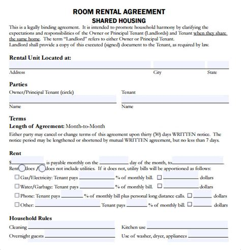 sample house lease agreement  documents   word