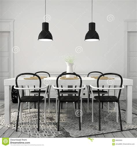 white dining table with black chairs stock photo image