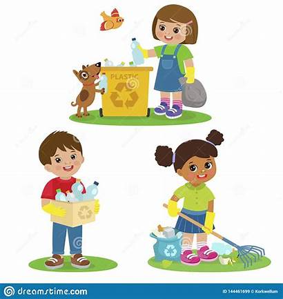 Picking Garbage Plastic Cleaning Illustrations Bambini Che