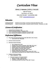 curriculum vitae format for dentist 8 dentist curriculum vitae free sle exle format free premium templates
