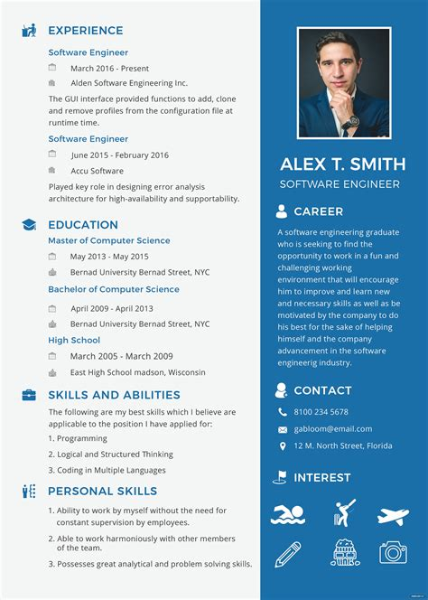 free resume and cv for software engineer fresher template in psd ms word publisher