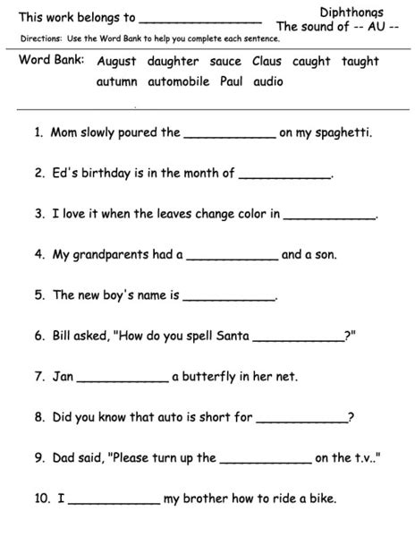 diphthongs the sound of au worksheet for 2nd 3rd grade