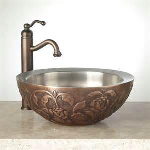 faux leather double wall copper vessel sink bathroom