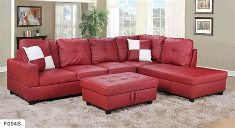 hton leather reversible sectional and storage ottoman f093b red faux leather sectional with storage ottoman