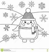Coloring Winter Theme Pages Animals Drawing Activity Template Stake Hat Penguin Snowflakes Sketch Scarf sketch template