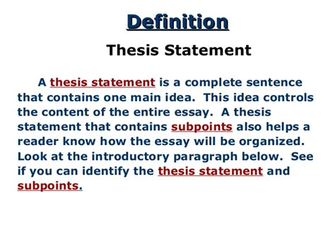 how is a the thesis statement a road map for your essay