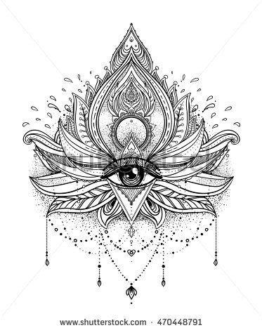 Vector ornamental Lotus flower, all-seeing eye, patterned