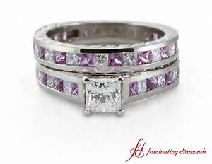 princess cut diamond wedding ring set with pink sapphire With pink sapphire wedding ring sets