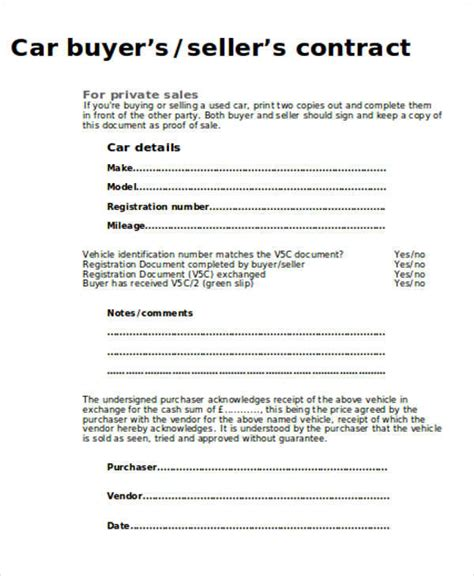 sample car sales contract  examples  word