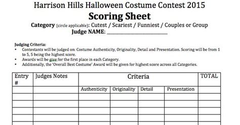 image result  costume contest judging sheet costume