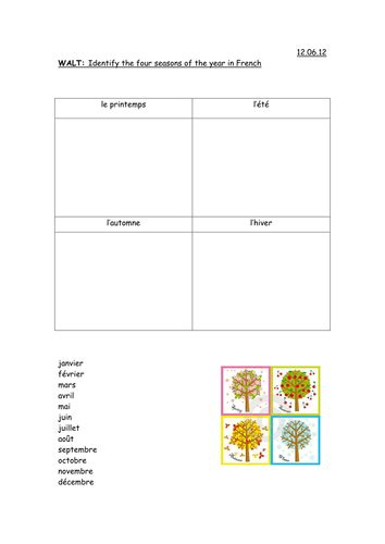 ks2 french seasons activities by emkate teaching