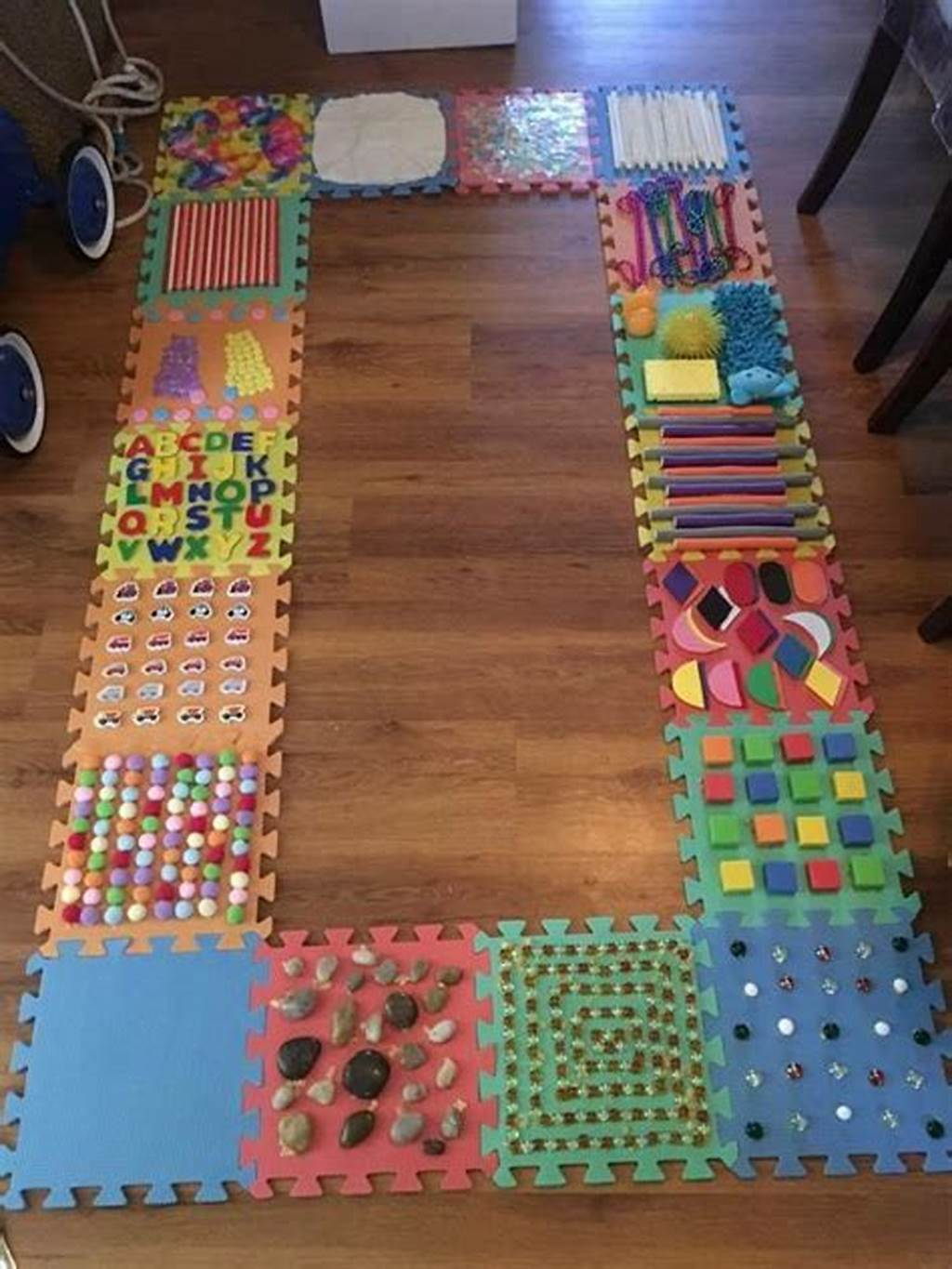 #Diy #Sensory #Walk #Using #Foam #Puzzle #Tiles