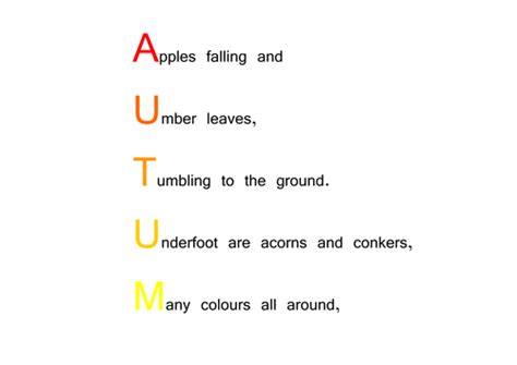 Autumn Acrostic Poem By Choralsongster