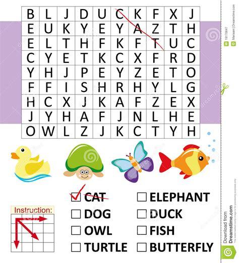 jeu de mot cuisine jeu de recherche de mot avec des animaux photographie