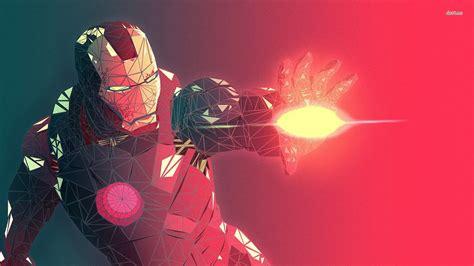Low Poly Superhero Iron Man Digital Art Artwork Fan