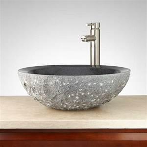 Round, Chiseled, Granite, Vessel, Sink, -, Vessel, Sinks, -, Bathroom, Sinks